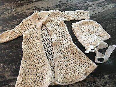Vintage Baby Hand Knit & Embroidered Robe Cardigan & Bonnet Set Ivory 30's-50's