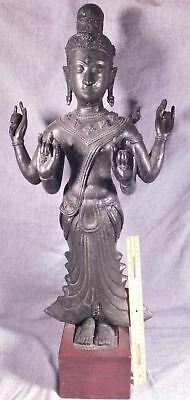 Very Old Antique Chinese Bronze Buddha Guanyin Fine Cast Rare Early Example 28""