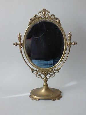 Large Collectable Oval Brass Art Nouveau Dressing Table Vanity Make Up Mirror