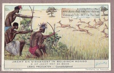 Congo Natives Hunting Gazelle With Bow And Arrow 50+ Y/O Trade Ad Card