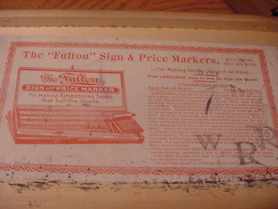 Fulton Sign&Price Markers In wood Box Looks Complete Nice  Item  Box 16 x 7 x 2