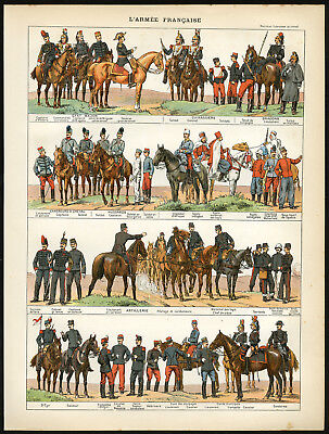2 Antique Prints-ARMY-INFANTRY-CAVALRY-FRANCE-Larousse-1897
