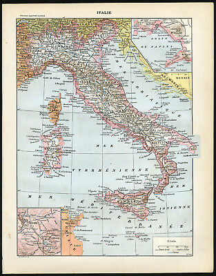 4 Antique Prints-ITALY-MAP-ROME-APPLIED ART-ARCHITECTURE-ARMY-Larousse-1897