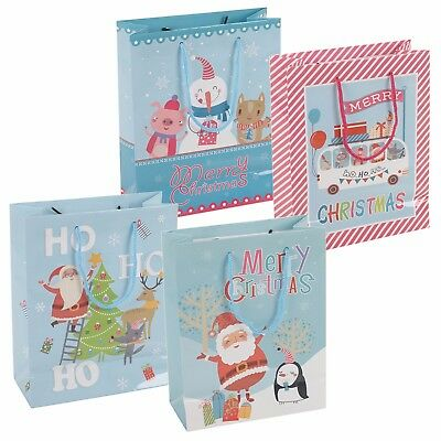 4 8 or 12 Assorted Merry Christmas Present Gift Bags Xmas Party Holiday Festive