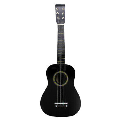 "23"" 6-String Folk Acoustic Guitar for Beginners Music Lovers Students Black"