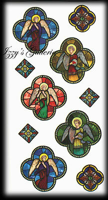 Paper House Vintage Religious Angels Stained Glass Stickers Clear Backing