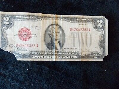 1928 F  $2 Dollar RED SEAL USA Legal Tender Note, Circulated (Tear)