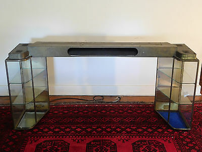 Large Antique Counter Top Bass and Curved Glass Lighted Display Case Cabinet