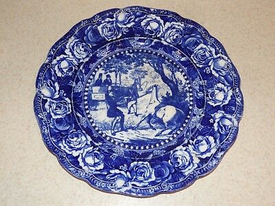 Ridgways China England Flow Blue Plate Charles Dickens Pickwick Plate Mr. Winkle