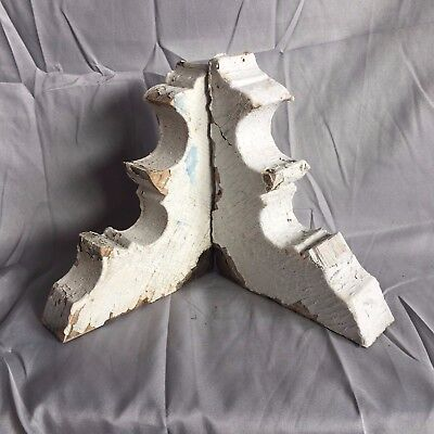 1890's Antique Pair(2) Wood Corbels Brackets Victorian Gingerbread White 532-17