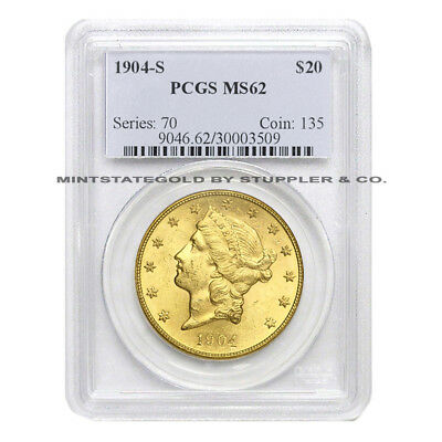 $20 Liberty PCGS MS62 Random Year Type 3 Gold Double Eagle choice graded coin
