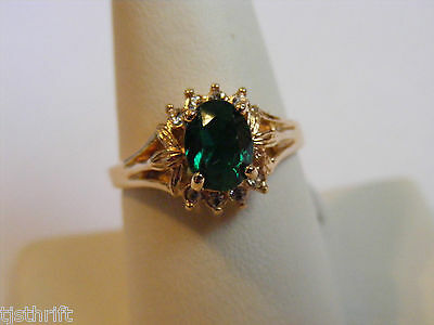 Vintage Nos 14K Gold Plate Size 7 Emerald Green Oval Stone Ring
