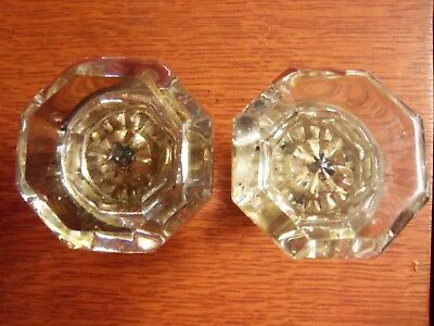 Two Antique Octagonal Glass & Brass 1920's Doorknobs Door Knobs - #69