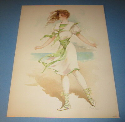 Old Vintage 1908 Antique VICTORIAN PRINT Sporting Girls  Bathing Beauty SEASHORE