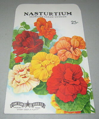 Old Vintage 1950's GIANT Size - NASTURTIUM FLOWER SEED PACKET - Lone Star TEXAS