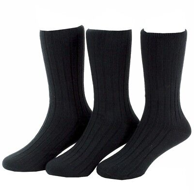 Stride Rite Boy's 3-Pairs Black Seamless Dress Crew Socks Sz: 8-9.5 Fits 13-4