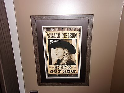 Willie Nelson Signed Framed Matted Outlaws Promo Old West WANTED Poster + COA