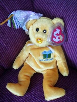 TY Beanie Babies NOVEMBER Birthday Bear Yellow with Topaz Birthstone Nose NEW