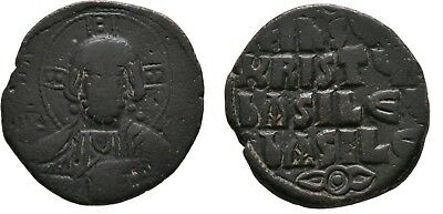 Ancient Byzantine 1020- 1028 BASIL II/ Constantine VIII Large Follis Christ #2