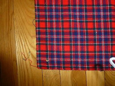 Vintage  Wool Cloth Plaid Red Black 60's Shawl Soft Christmas Stocking Usa
