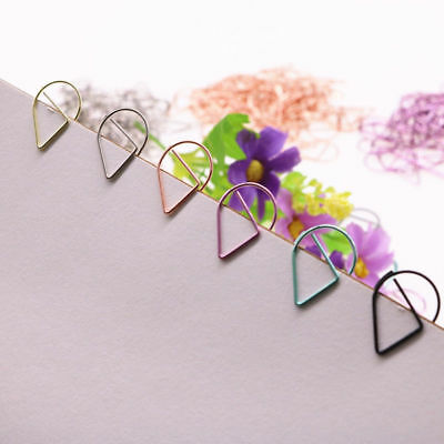 Colorful Raindrop Shape Paper Clips Stationery Office Photo Book Mark Folder Lot