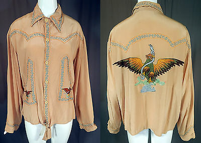 Vintage 1940s Embroidered Eagle Mexico Coat of Arms Silk Rayon Mens Dress Shirt