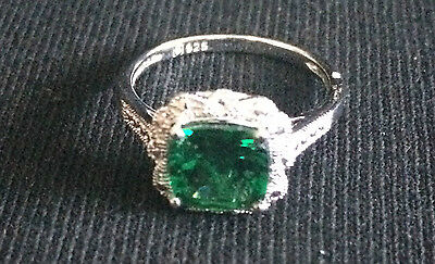 Size 7 Sterling Silver Vintage Inspired Emerald Ring
