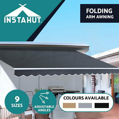 Instahut Outdoor Folding Arm Awning Retractable Sunshade Canopy Grey 5 sizes