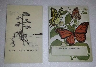 Vintage Bookplates 2 sets Butterflies and Sketched Tree Water Scene