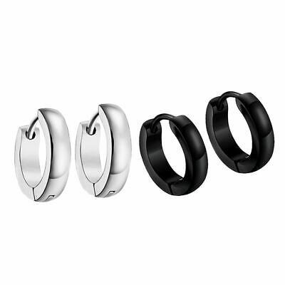 2 Pairs Mens Womens Unisex Steel Huggie Hoop Earrings Stud Punk Ring Hinged