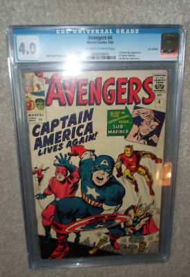 MARVEL Comics AVENGERS 4 CGC 4.0 off  White pages 1964 1St app Captain America