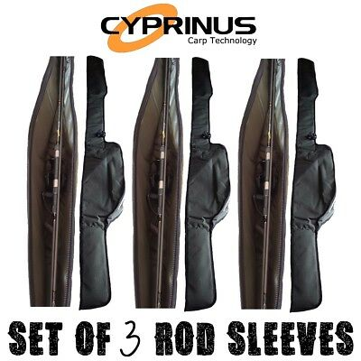 3 x Cyprinus™ 12ft Carp Fishing Padded Rod Bag Sleeve For Made Up Rods