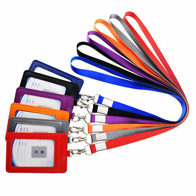 ID Badge Card Holder Leather Business Exhibition Pass Office Work Neck Strap