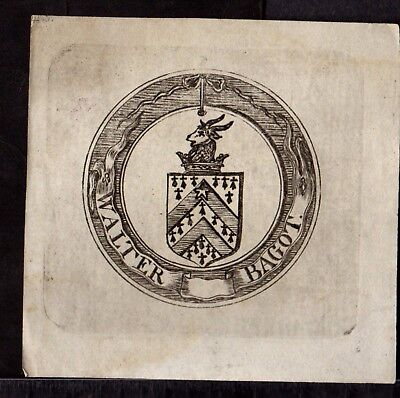 BOOK PLATE/Ex Libris ~ WALTER BAGOT ~ Very Early