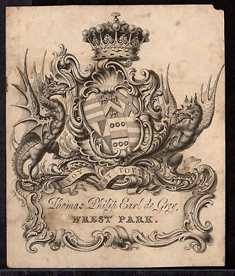BOOK PLATE/Ex Libris ~ THOMAS PHILIP EARL DE GREY of WREST PARK 1781-1859 ~ #1