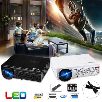 Full HD 3D Beamer 1080P 5000Lumen Projektor LED Projector HDMI*2/USB*2/VGA/TV EU
