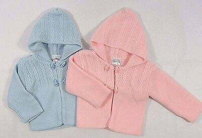 Baby Babies Girls Boys Button Up Hoodie Cardigan Double Knitted Pram Coat 125