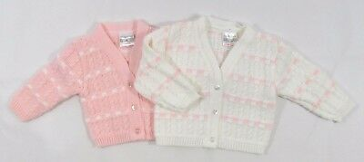 Baby Babies Girls Button Up Cardigan Striped White Pink Knitted V Neck NB 557