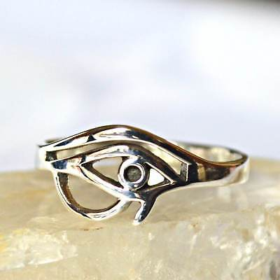 Small Egyptian Eye of Horus Sterling Silver Ring~Wicca~Goth~New Pagan Jewellery