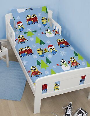 New DESPICABLE ME MINIONS Christmas Junior Toddler Cot Bed Duvet Quilt Cover Set