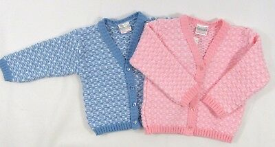 Baby Babies Boys Girls Button Up Cardigan Blue Pink Knitted Patterned V Neck 198