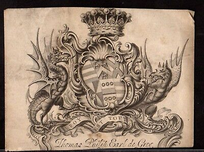 BOOK PLATE/Ex Libris ~ THOMAS PHILIP EARL DE GREY of WREST PARK 1781-1859 ~ #2