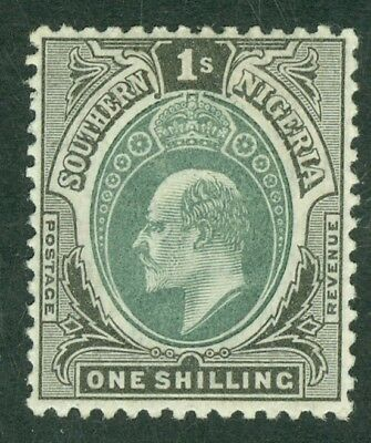 SG 16 Southern Nigeria 1903-4 1/- green & black. Lightly mounted mint CAT £42