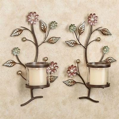 Wall Sconce Candle Holders Metal Flowers Sconces Wall Decor