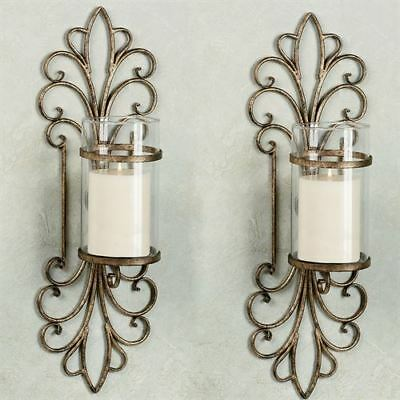 Wrought Iron Antique Gold Hurricane Candleholder Wall Sconce Pair (2)