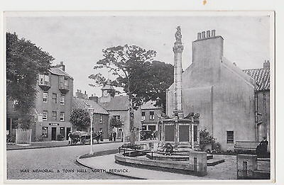 East Lothian postcard WAR MEMORIAL and TOWN HALL, NORTH BERWICK early 1900's
