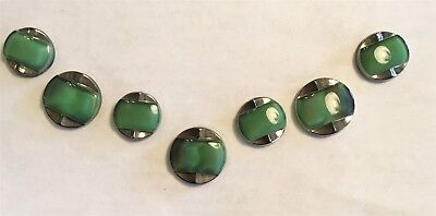 Vintage Art Deco Green  Moonglow & Silver Luster 7 Pc Sets   Green