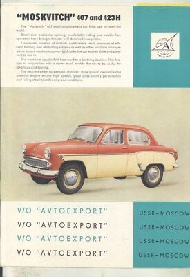 1958 ? Moskvitch Russia 407 423H Brochure wy7681