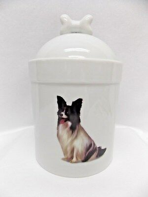 Papillon Dog Black/White Porcelain Treat Jar Fired Body Decal on Front 8in Tall