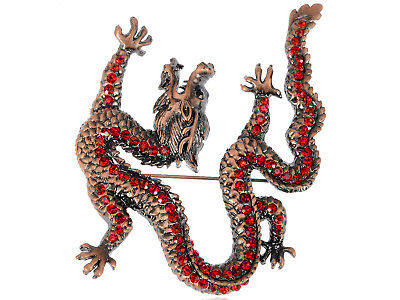 Marvelous Red Crystal Chic Reproduct Dragon Animal Brooch Pin